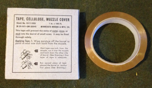 WWII reproduction Cellulose tape for muzzle cover. Reproduction box with new, usable tape.