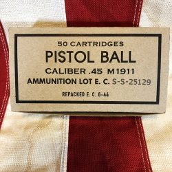 WWII Pistol Ball Box 50 Cartridges WW2