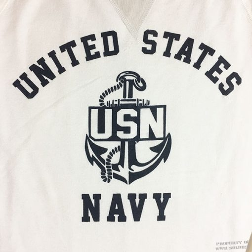 WWII US Navy Sweatshirt WW2 USN reproduction v notch