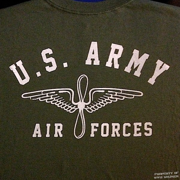 U.S. Army Air Forces PT Shirt, Wing & Prop, OD Green shirt