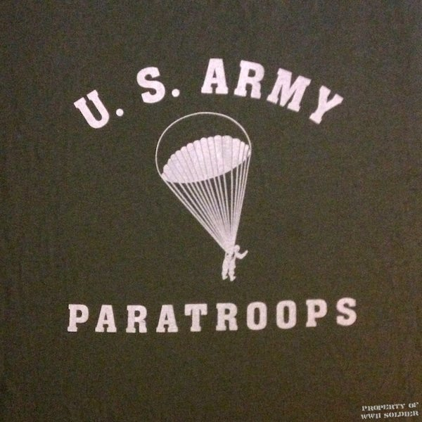 U.S. Army Paratroops PT Shirt, Paratrooper Dropping, OD Green shirt