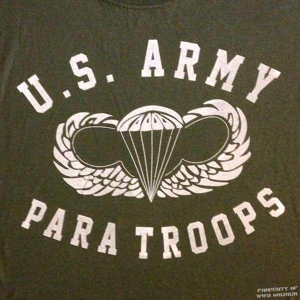 U.S. Army Paratroops PT Shirt, Wings & Chute, OD Green shirt