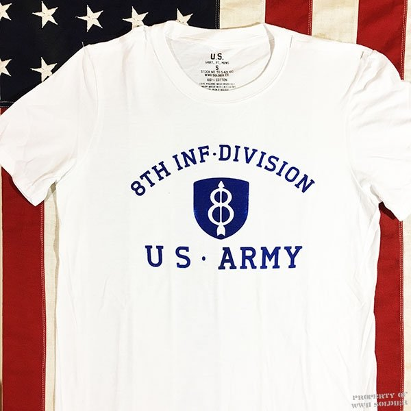WWII 8th Infantry Division T Shirt, US Army Reproduction