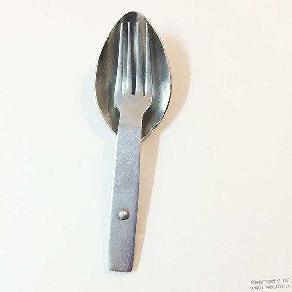 WWII German Army Folding Fork & Spoon, Heer Wehrmacht Reproduction