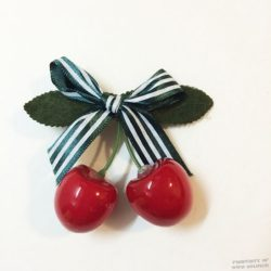 Cherry with Green Bow Hair Clip, WWII Style - WWII Soldier