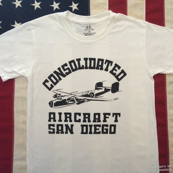 Consolidated Aircraft San Diego Factory T Shirt WWII Reproduction