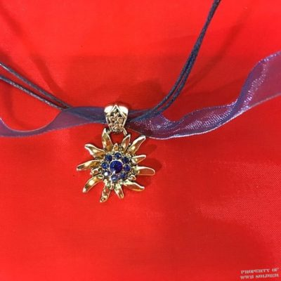 Edelweiss Choker with Blue Rhinestones, WW2