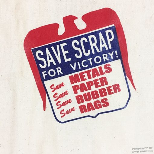 WWII Save Scrap For Victory Bag, ww2 tote bag