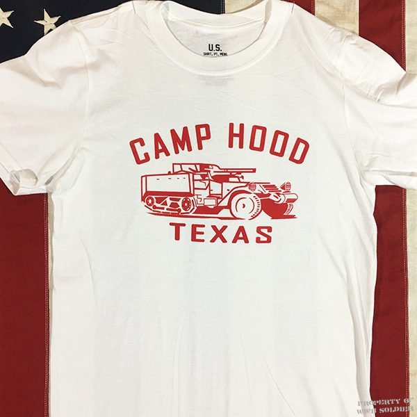WWII Camp Hood Texas T Shirt, Half-Track Men's reproduction