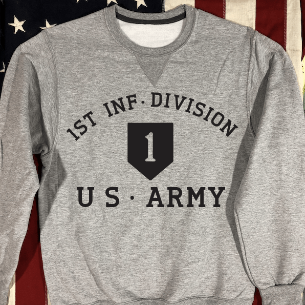 1st Infantry Division Sweatshirt with V notch, WWII US Army