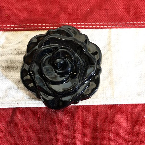 Compact Mirror Black Flower