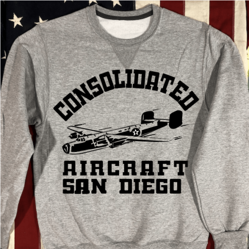 WWII Consolidated Aircraft Sweatshirt WW2 Gray