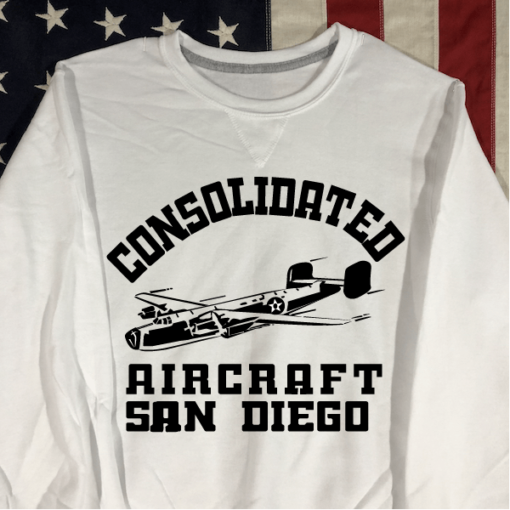 WWII Consolidated Aircraft Sweatshirt in White WW2
