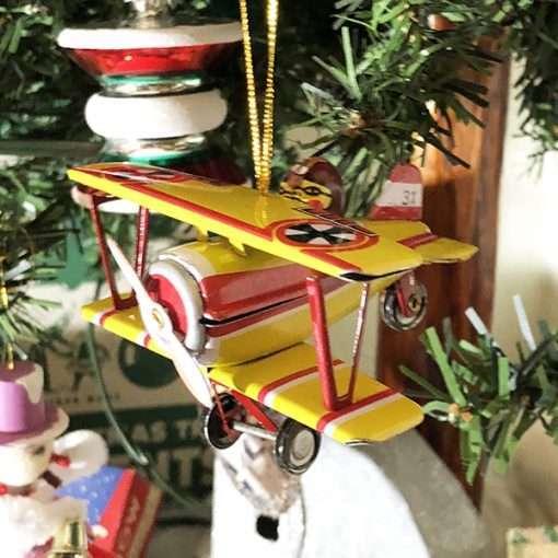 Fokker Biplane ornament tin toy WWI WW1