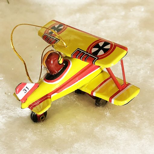 Tin toy ornament biplane fokker
