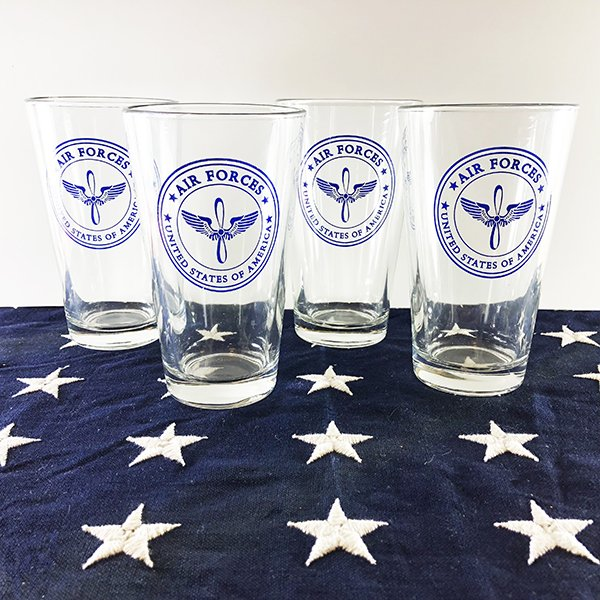 Set of 4 USAAF Air Forces Glasses, WWII Reproduction