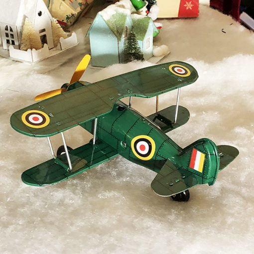 tin toy green curtis biplane