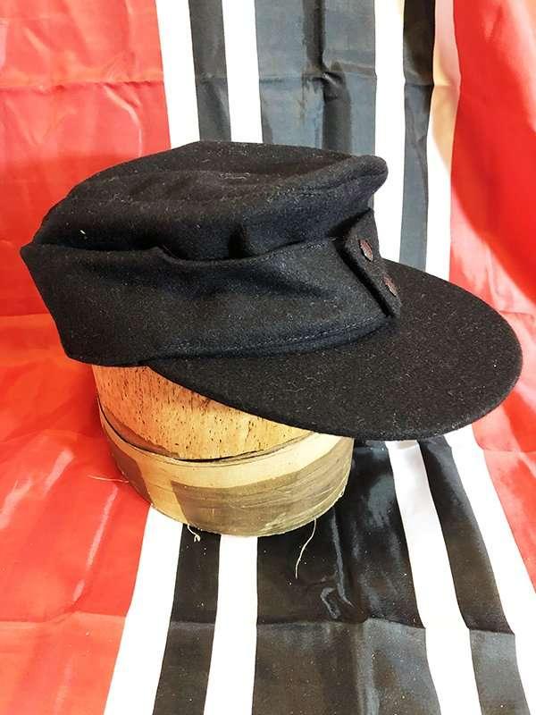 Ww2 German Police M43 Hat Badge: Black German SS M43 Field Or Mountain Cap, WWII