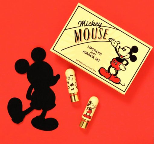 Mickey Mouse Red and Ink and Paint Lipsticks in a Collector Box with Compact
