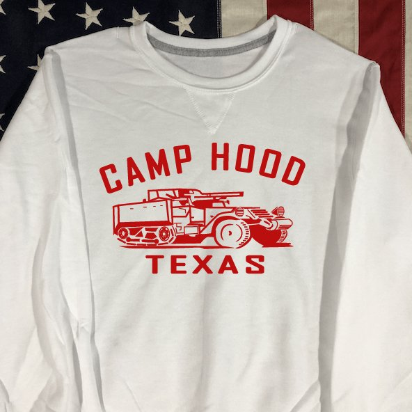 Camp Hood Texas Sweatshirt with V notch, Half-Track WWII Reproduction