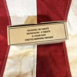 WWII Halazone Tablet Box WW2 Sulfadiazine Syrettes Morphine Tartrate
