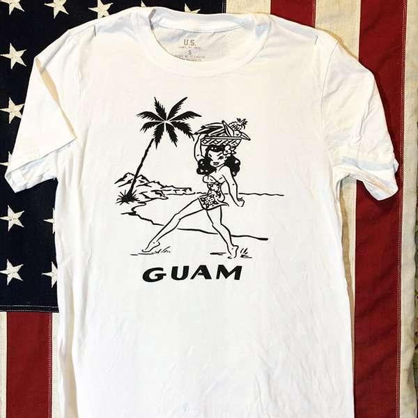 WWII USN Guam Girl T shirt US Navy Men's Repro