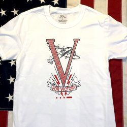 WWII V for Victory T Shirt WW2 Reproduction
