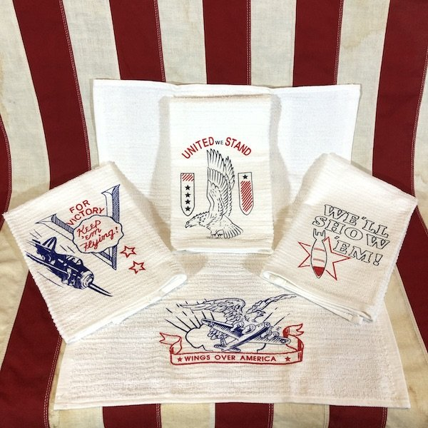 WWII Kitchen Bar Towel Set Reproduction, Set of 4