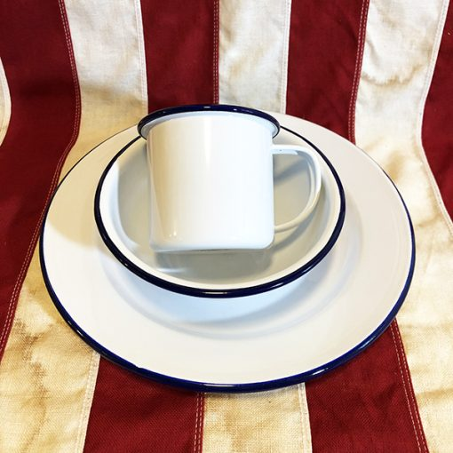 Enamel Blue rim Mug bowl dinner plate WW!! WW2