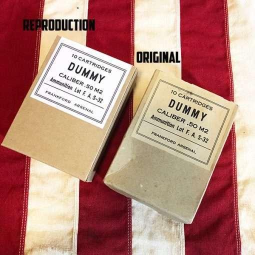 WWII Dummy Cartridge 50 Box side by side original reproduction box WW2