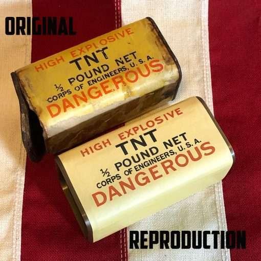 WWII Half Pound TNT Block Original vs Reproduction WW2