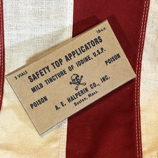 WWII USN safety Top Applicators Mild Tincture of Iodine USP Box WW2 Reproduction