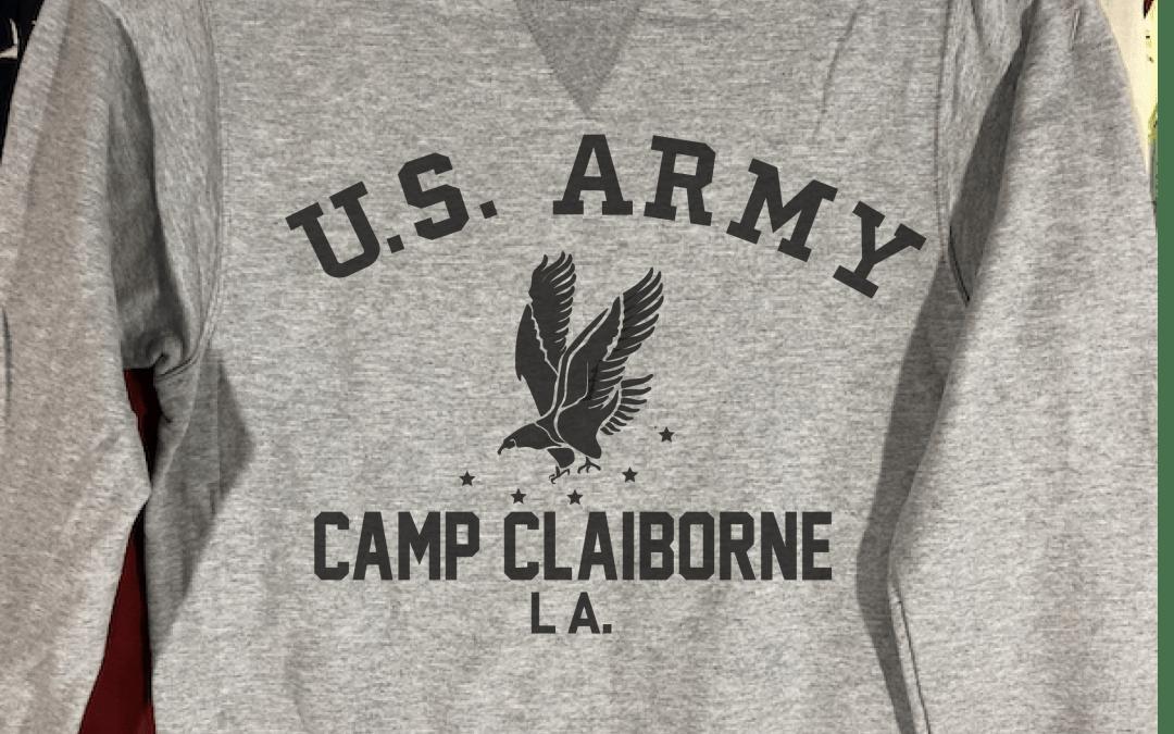 Camp Claiborne Louisiana Sweatshirt with V notch, WWII Reproduction